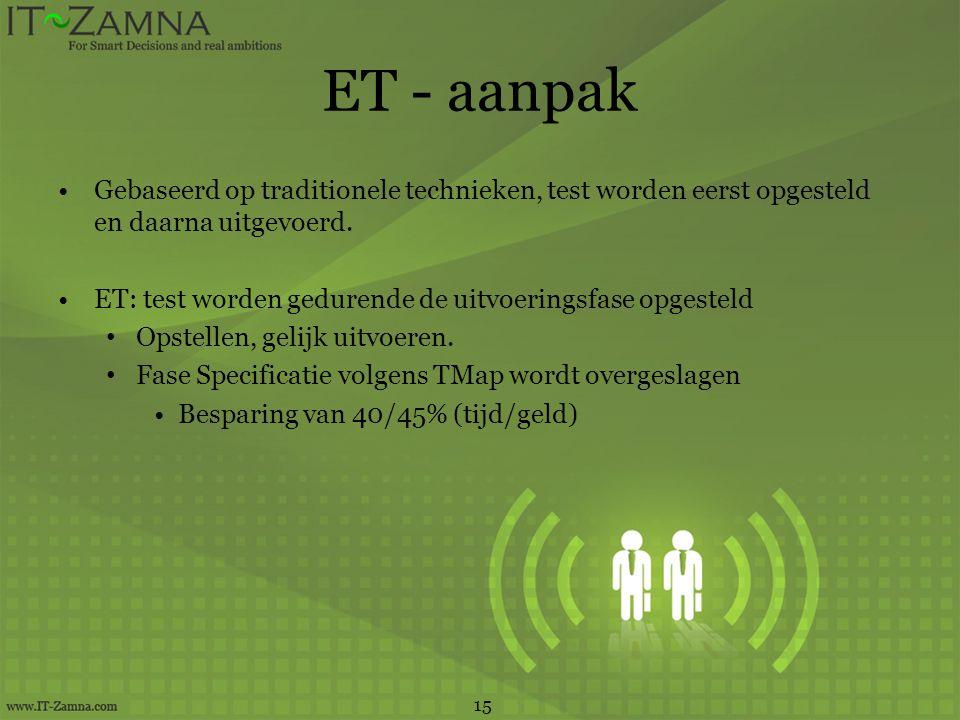 ET - aanpak •Gebaseerd op traditionele technieken, test worden eerst opgesteld en daarna uitgevoerd. •ET: test worden gedurende de uitvoeringsfase opg