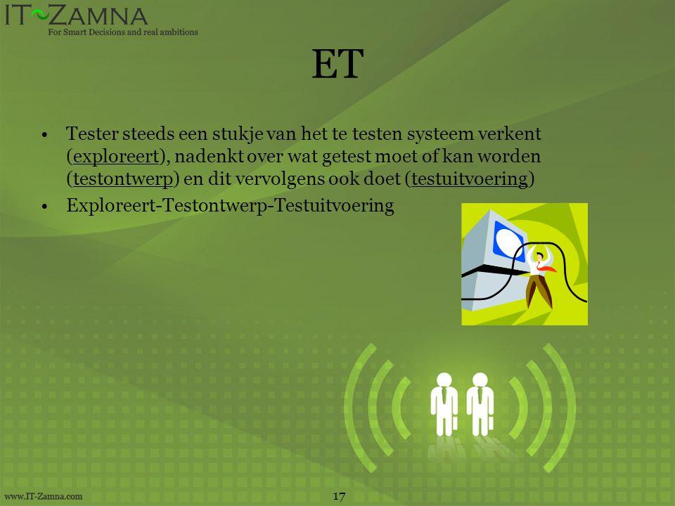 ET •Tester steeds een stukje van het te testen systeem verkent (exploreert), nadenkt over wat getest moet of kan worden (testontwerp) en dit vervolgen