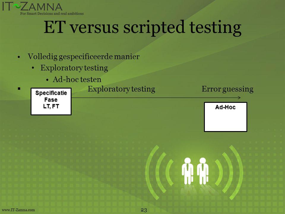 ET versus scripted testing •Volledig gespecificeerde manier • Exploratory testing •Ad-hoc testen  Exploratory testing Error guessing 23 SpecificatieF