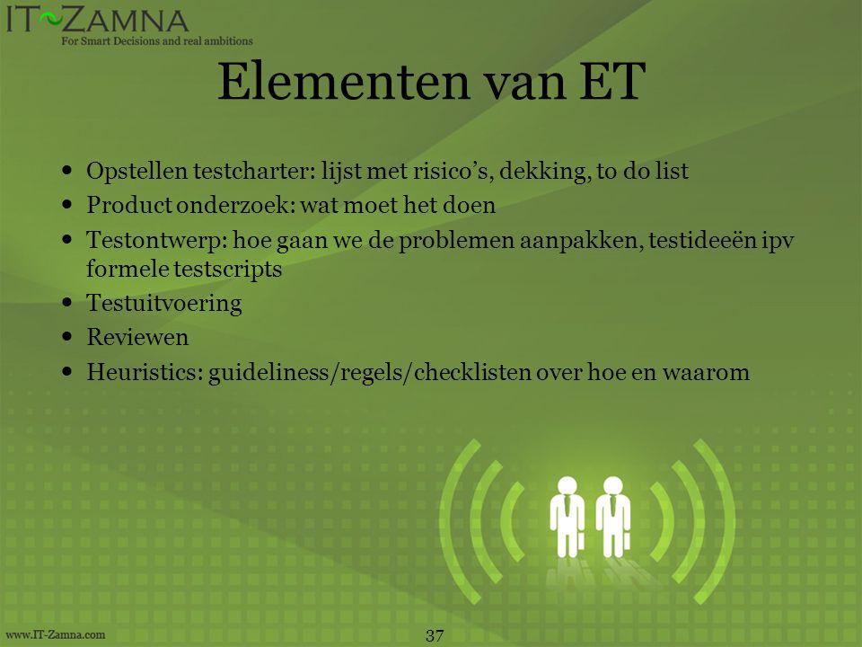 Elementen van ET  Opstellen testcharter: lijst met risico's, dekking, to do list  Product onderzoek: wat moet het doen  Testontwerp: hoe gaan we de