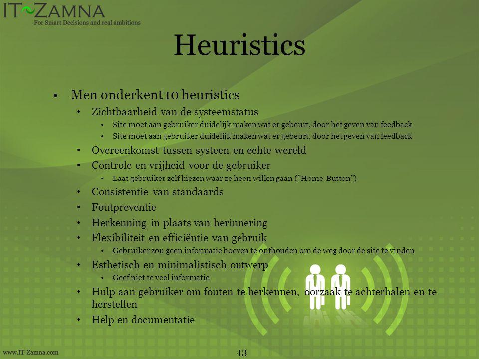Heuristics •Men onderkent 10 heuristics • Zichtbaarheid van de systeemstatus •Site moet aan gebruiker duidelijk maken wat er gebeurt, door het geven v