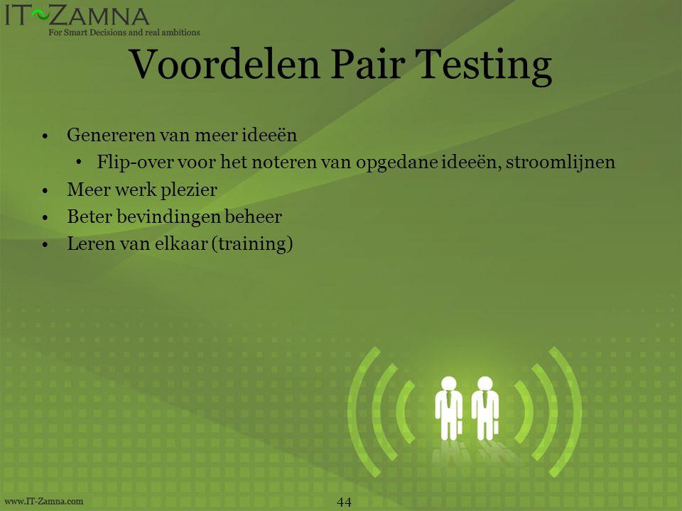 Voordelen Pair Testing •Genereren van meer ideeën • Flip-over voor het noteren van opgedane ideeën, stroomlijnen •Meer werk plezier •Beter bevindingen