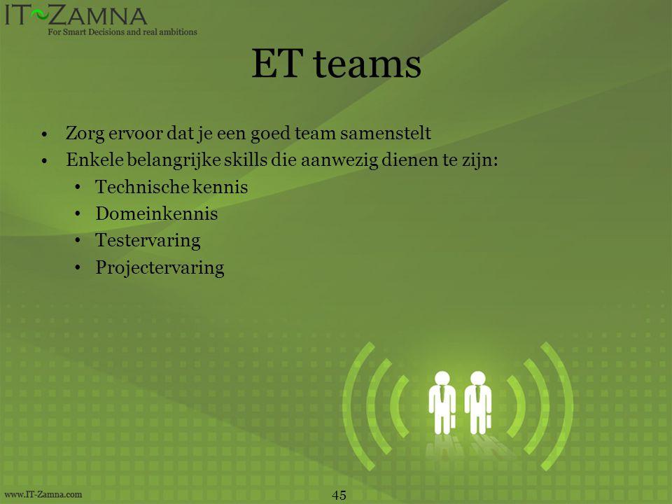 ET teams •Zorg ervoor dat je een goed team samenstelt •Enkele belangrijke skills die aanwezig dienen te zijn: • Technische kennis • Domeinkennis • Tes