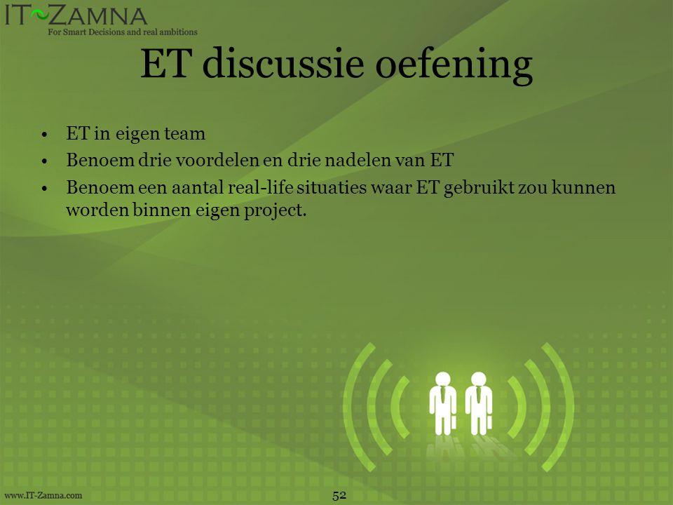 ET discussie oefening •ET in eigen team •Benoem drie voordelen en drie nadelen van ET •Benoem een aantal real-life situaties waar ET gebruikt zou kunn