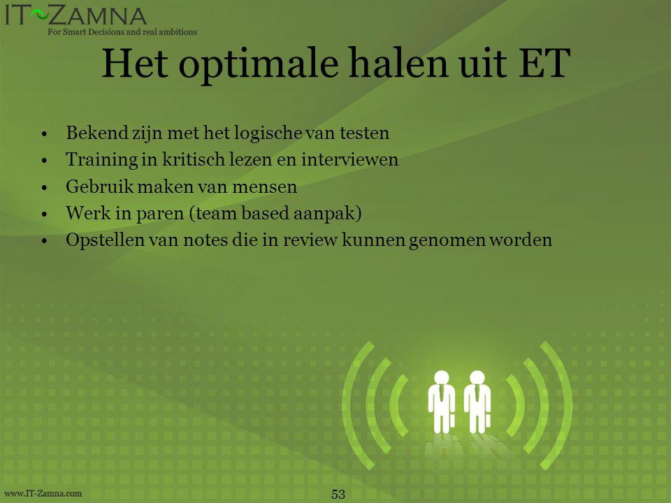 Het optimale halen uit ET •Bekend zijn met het logische van testen •Training in kritisch lezen en interviewen •Gebruik maken van mensen •Werk in paren