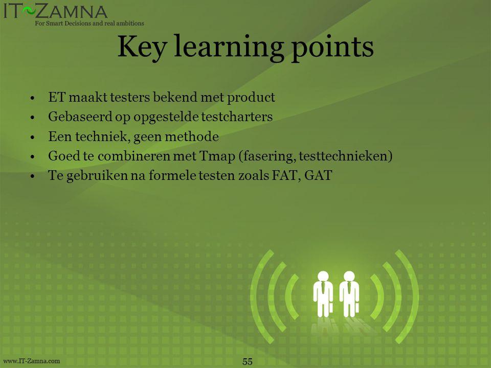 Key learning points •ET maakt testers bekend met product •Gebaseerd op opgestelde testcharters •Een techniek, geen methode •Goed te combineren met Tma