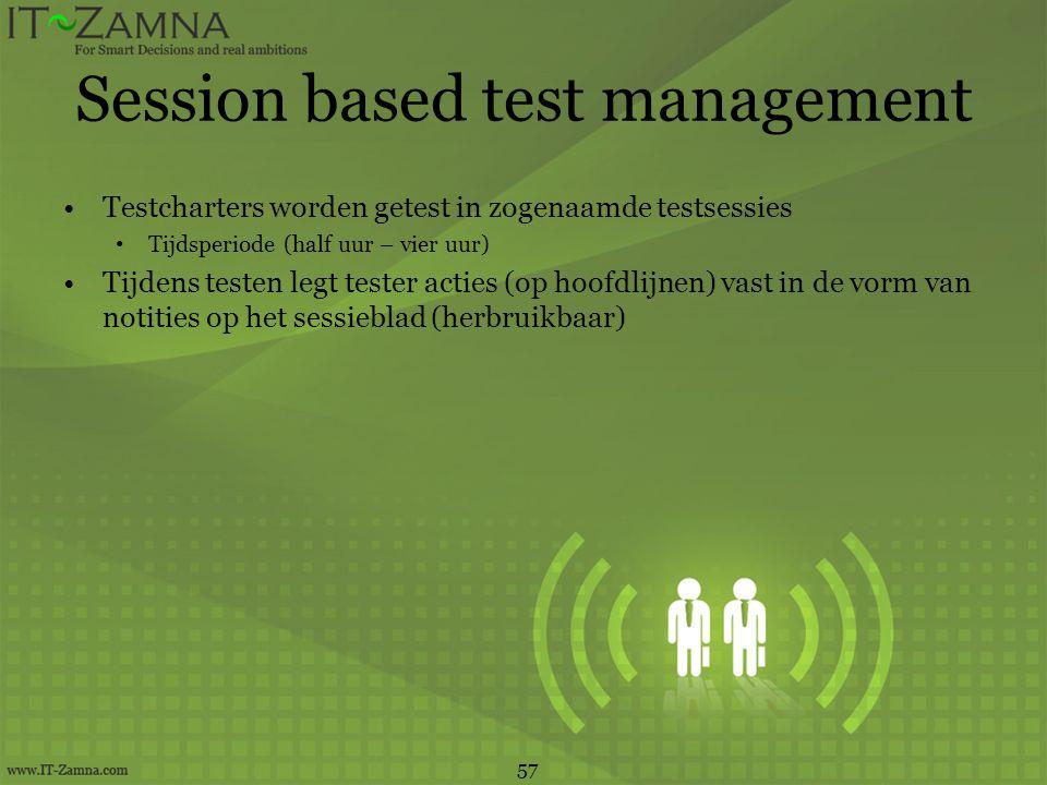 Session based test management •Testcharters worden getest in zogenaamde testsessies • Tijdsperiode (half uur – vier uur) •Tijdens testen legt tester a