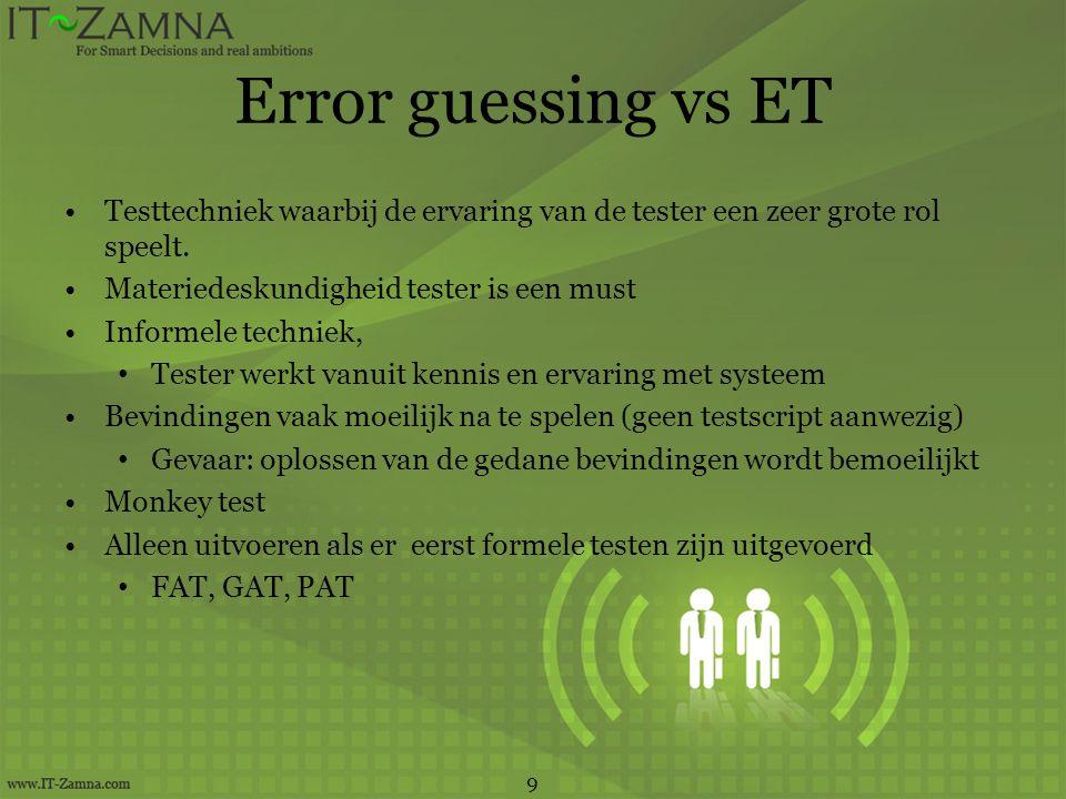 Error guessing vs ET •Testtechniek waarbij de ervaring van de tester een zeer grote rol speelt. •Materiedeskundigheid tester is een must •Informele te