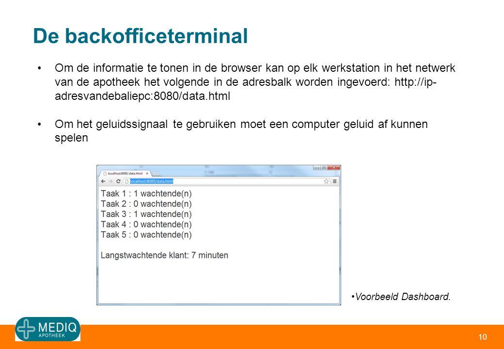 De backofficeterminal 10 •Om de informatie te tonen in de browser kan op elk werkstation in het netwerk van de apotheek het volgende in de adresbalk w
