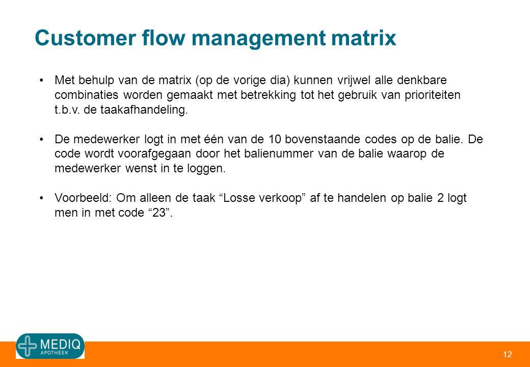 Customer flow management matrix 12 •Met behulp van de matrix (op de vorige dia) kunnen vrijwel alle denkbare combinaties worden gemaakt met betrekking