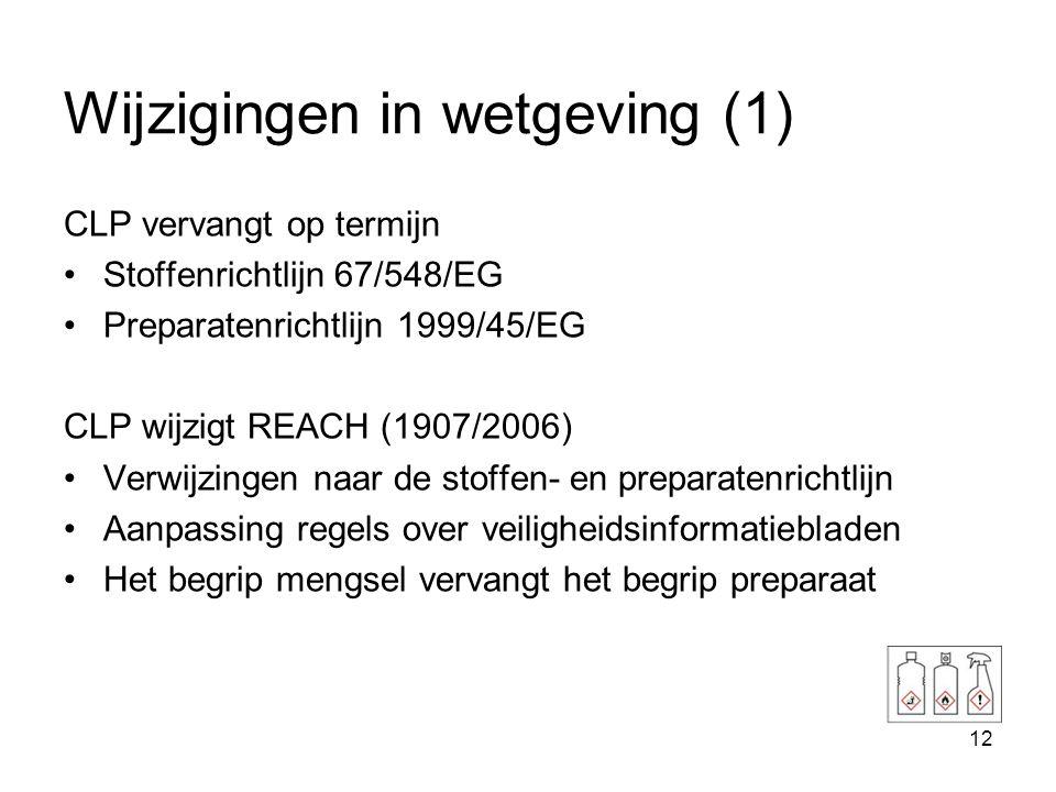 13 Wijzigingen in wetgeving (2) •Ook op termijn wijzigingen in Nederlandse wet- en regelgeving –Hoofdstuk 9 Wet milieubeheer –Arbeidsomstandighedenwet/ Arbobesluit –BRZO –Alle wetgeving die nu nog verwijst naar gevarenklassen van Stoffenrichtlijn (Wm)
