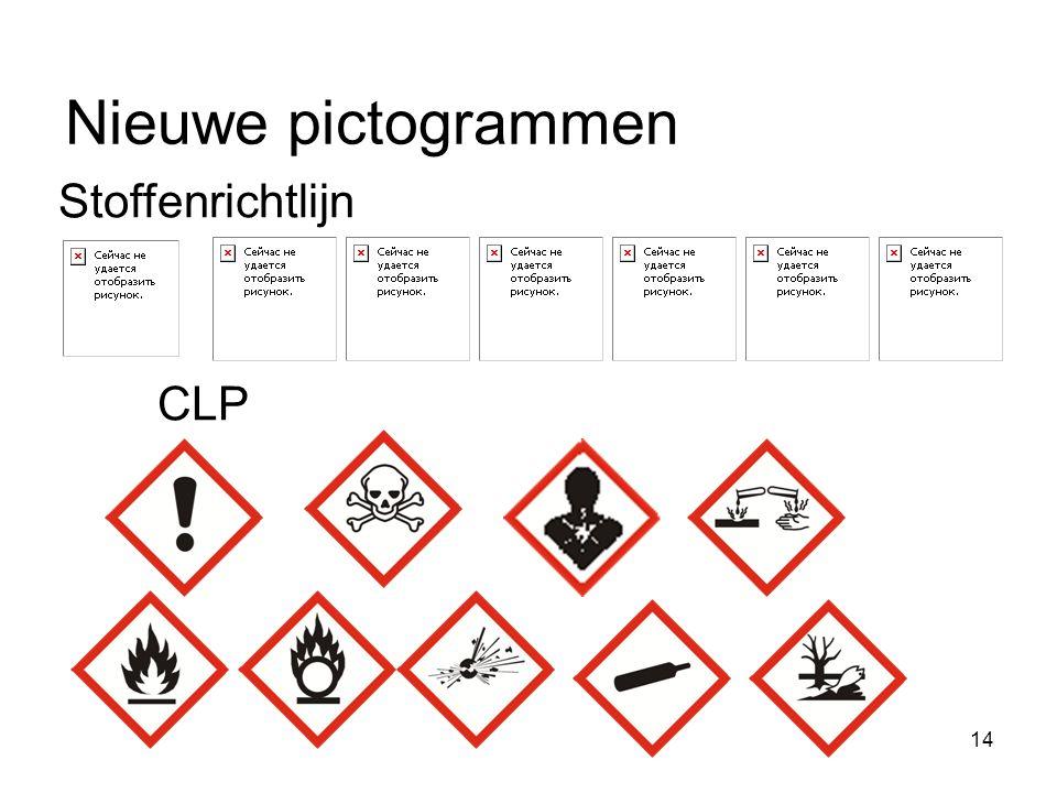 15 Oud versus nieuw 67/548/EEG1272/2008 7 pictogrammen9 pictogrammen 15 gevarenklassen28 gevarenklassen met subcategorieën R-zinnenH-zinnen S-zinnenP-zinnen Extra zinnenEUH-zinnen -Signaalwoorden: gevaar en waarschuwing Annex IAnnex VI Annex VII: conversie oud naar nieuw Criteria voor stoffenCriteria voor stoffen en mengsels Criteria voor mengsels in 1999/45/EG