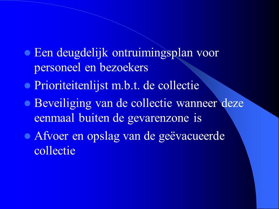  Een deugdelijk ontruimingsplan voor personeel en bezoekers  Prioriteitenlijst m.b.t. de collectie  Beveiliging van de collectie wanneer deze eenma