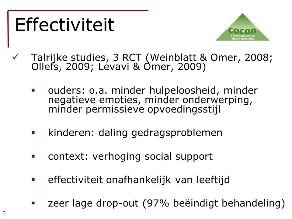  Talrijke studies, 3 RCT (Weinblatt & Omer, 2008; Ollefs, 2009; Levavi & Omer, 2009)   ouders: o.a. minder hulpeloosheid, minder negatieve emoties,
