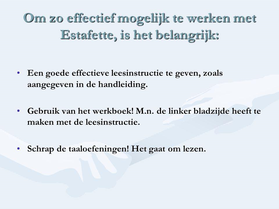 Om zo effectief mogelijk te werken met Estafette, is het belangrijk: •Een goede effectieve leesinstructie te geven, zoals aangegeven in de handleiding.