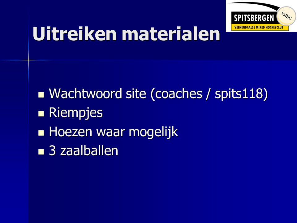 Uitreiken materialen  Wachtwoord site (coaches / spits118)  Riempjes  Hoezen waar mogelijk  3 zaalballen