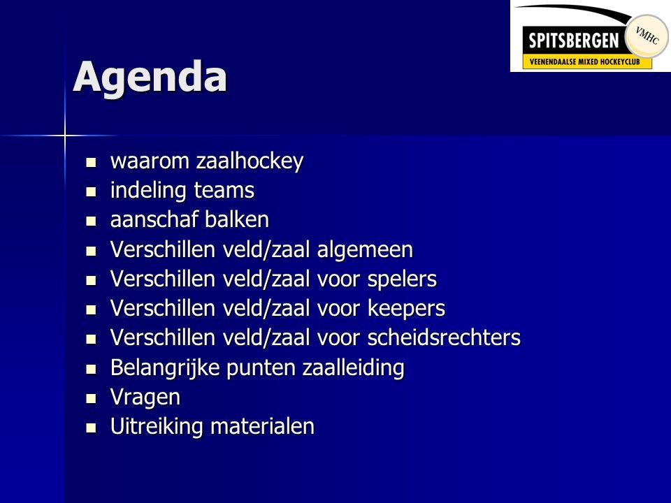 Agenda  waarom zaalhockey  indeling teams  aanschaf balken  Verschillen veld/zaal algemeen  Verschillen veld/zaal voor spelers  Verschillen veld/zaal voor keepers  Verschillen veld/zaal voor scheidsrechters  Belangrijke punten zaalleiding  Vragen  Uitreiking materialen