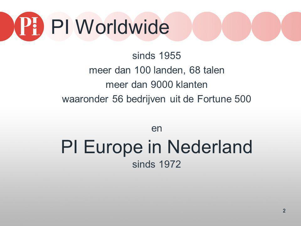 2 PI Worldwide sinds 1955 meer dan 100 landen, 68 talen meer dan 9000 klanten waaronder 56 bedrijven uit de Fortune 500 en PI Europe in Nederland sind