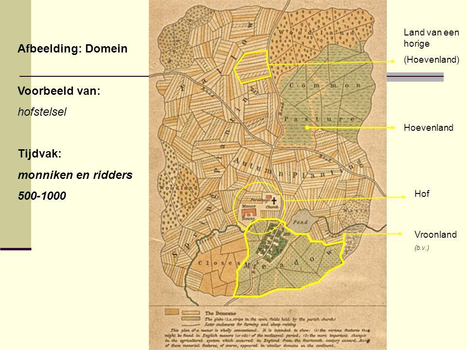 Afbeelding: Domein Voorbeeld van: hofstelsel Tijdvak: monniken en ridders 500-1000 Hof Vroonland (b.v.) Land van een horige (Hoevenland) Hoevenland