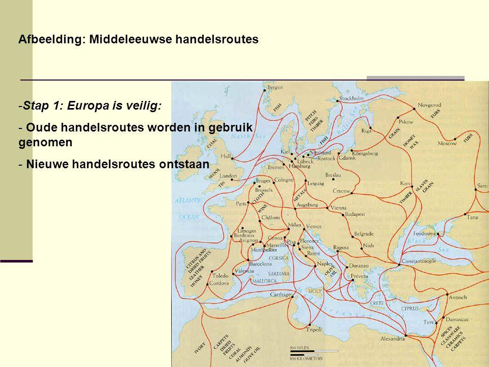 Afbeelding: Middeleeuwse handelsroutes -Stap 1: Europa is veilig: - Oude handelsroutes worden in gebruik genomen - Nieuwe handelsroutes ontstaan