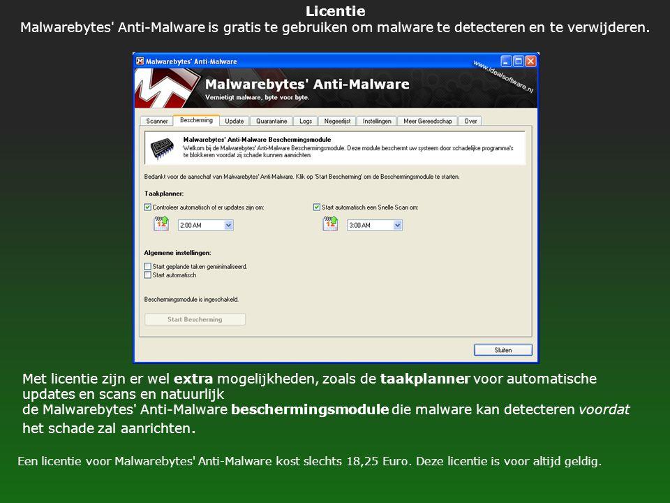 Licentie Malwarebytes' Anti-Malware is gratis te gebruiken om malware te detecteren en te verwijderen. Een licentie voor Malwarebytes' Anti-Malware ko