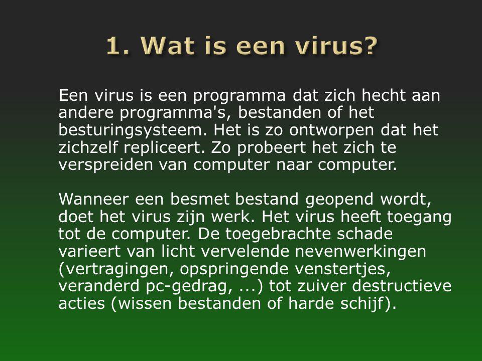 Een virus is een programma dat zich hecht aan andere programma's, bestanden of het besturingsysteem. Het is zo ontworpen dat het zichzelf repliceert.