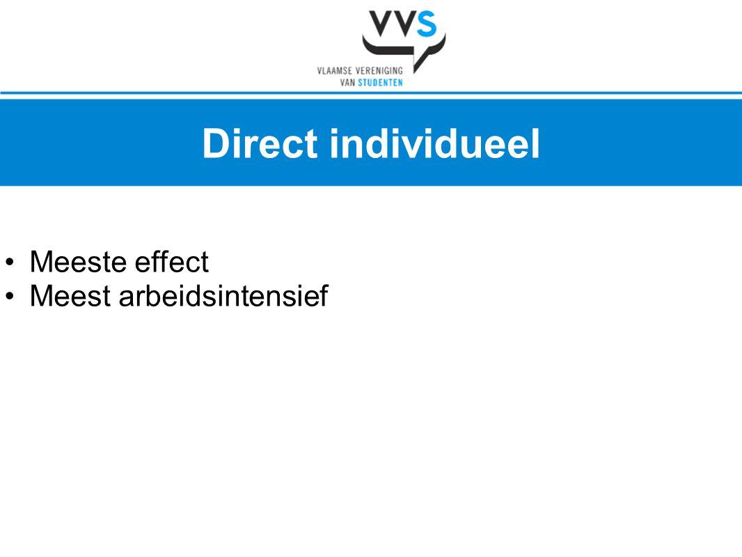 •Meeste effect •Meest arbeidsintensief Direct individueel