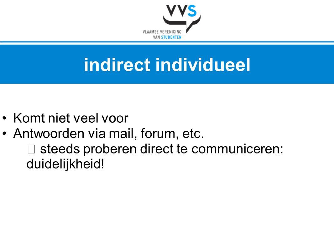 •Komt niet veel voor •Antwoorden via mail, forum, etc.  steeds proberen direct te communiceren: duidelijkheid! indirect individueel