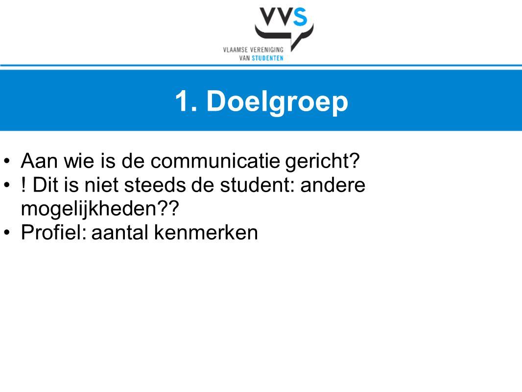 •Aan wie is de communicatie gericht? •! Dit is niet steeds de student: andere mogelijkheden?? •Profiel: aantal kenmerken 1. Doelgroep