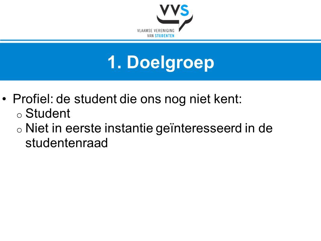 •Profiel: de student die ons nog niet kent: o Student o Niet in eerste instantie geïnteresseerd in de studentenraad 1. Doelgroep