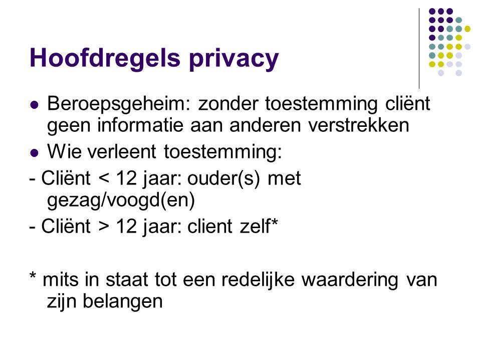 Hoofdregels privacy  Beroepsgeheim: zonder toestemming cliënt geen informatie aan anderen verstrekken  Wie verleent toestemming: - Cliënt < 12 jaar: