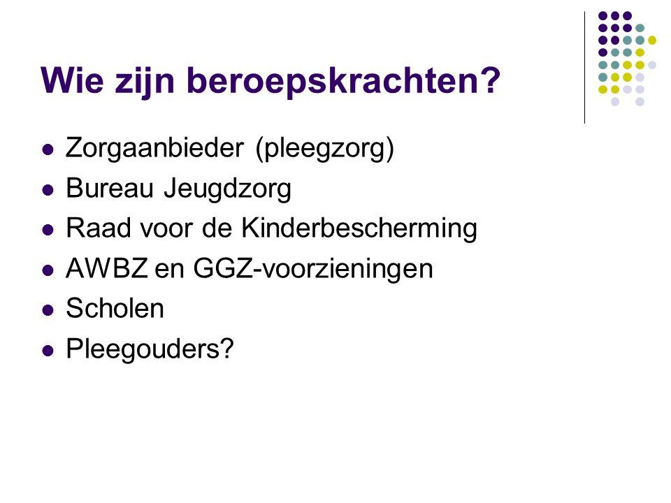 Wie zijn beroepskrachten?  Zorgaanbieder (pleegzorg)  Bureau Jeugdzorg  Raad voor de Kinderbescherming  AWBZ en GGZ-voorzieningen  Scholen  Plee