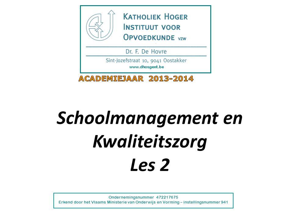 Ondernemingsnummer 472217675 Erkend door het Vlaams Ministerie van Onderwijs en Vorming – instellingsnummer 941 Schoolmanagement en Kwaliteitszorg Les 2