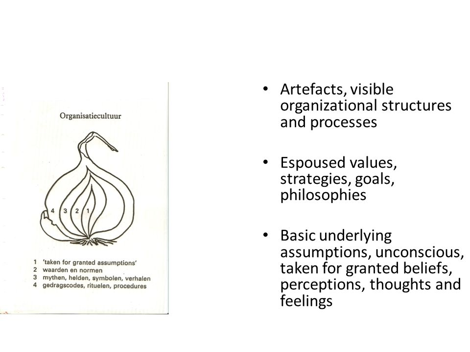 • Artefacts, visible organizational structures and processes • Espoused values, strategies, goals, philosophies • Basic underlying assumptions, uncons