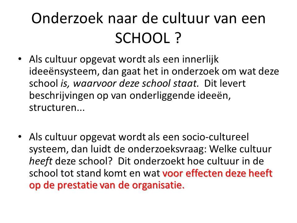 Onderzoek naar de cultuur van een SCHOOL ? • Als cultuur opgevat wordt als een innerlijk ideeënsysteem, dan gaat het in onderzoek om wat deze school i
