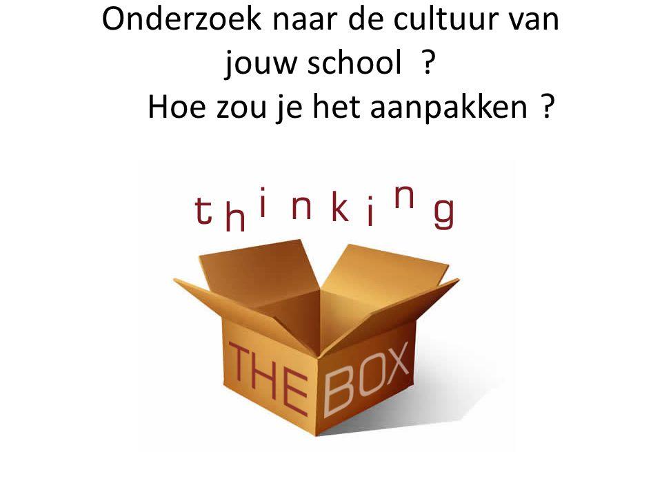 Onderzoek naar de cultuur van jouw school ? Hoe zou je het aanpakken ?