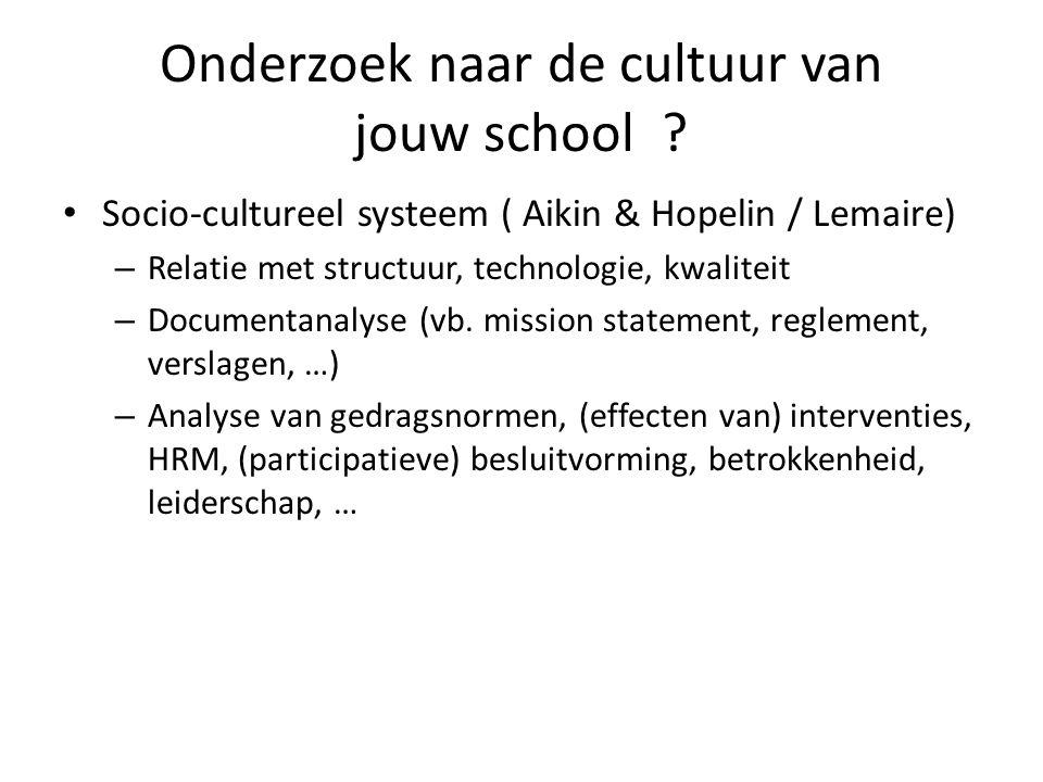 Onderzoek naar de cultuur van jouw school ? • Socio-cultureel systeem ( Aikin & Hopelin / Lemaire) – Relatie met structuur, technologie, kwaliteit – D