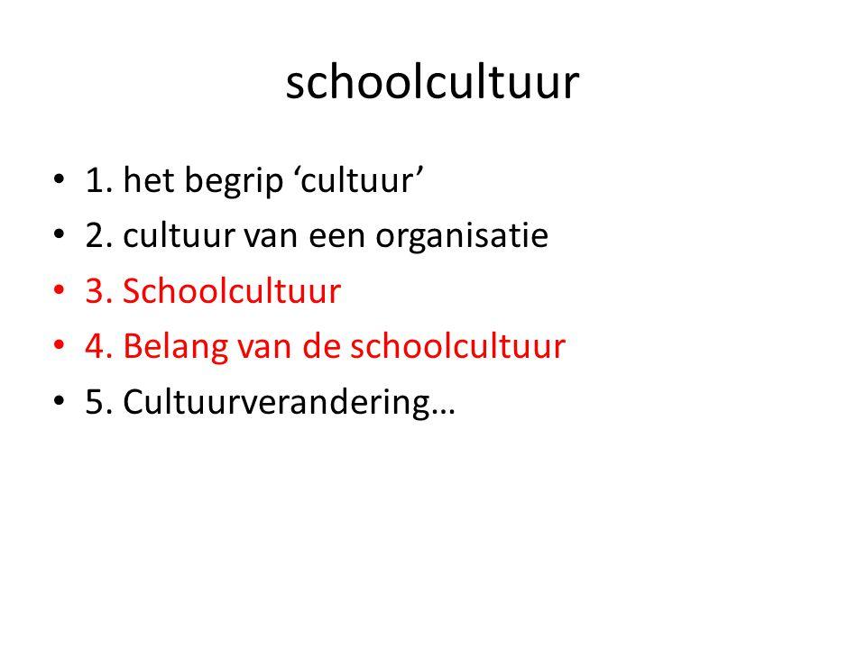 • 1. het begrip 'cultuur' • 2. cultuur van een organisatie • 3. Schoolcultuur • 4. Belang van de schoolcultuur • 5. Cultuurverandering… schoolcultuur