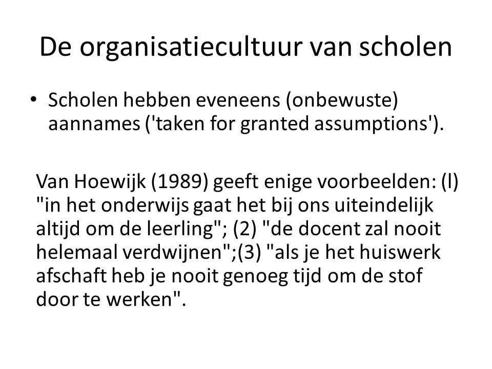 • Scholen hebben eveneens (onbewuste) aannames ('taken for granted assumptions'). Van Hoewijk (1989) geeft enige voorbeelden: (l)