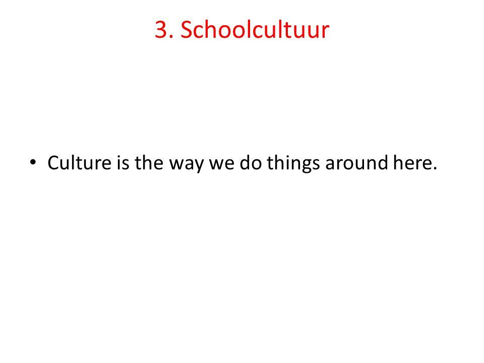 • De dagelijkse omgang tussen leerkrachten en leerlingen - het waarneembare gedrag- kenmerken een bepaalde cultuur.