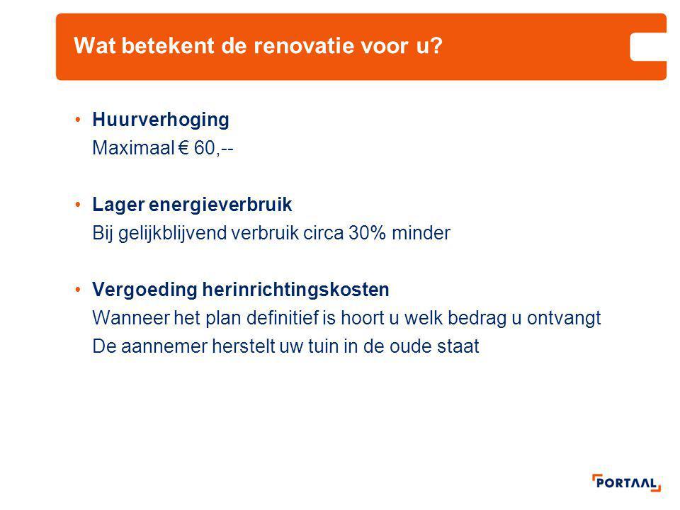Wat betekent de renovatie voor u? •Huurverhoging Maximaal € 60,-- •Lager energieverbruik Bij gelijkblijvend verbruik circa 30% minder •Vergoeding heri