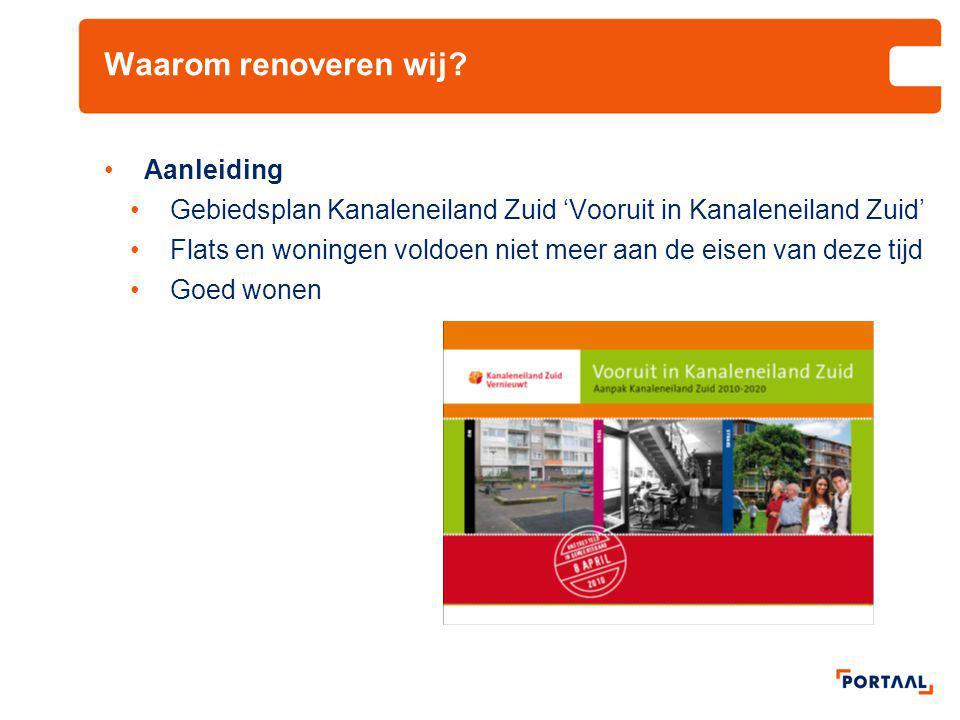 Waarom renoveren wij? •Aanleiding •Gebiedsplan Kanaleneiland Zuid 'Vooruit in Kanaleneiland Zuid' •Flats en woningen voldoen niet meer aan de eisen va