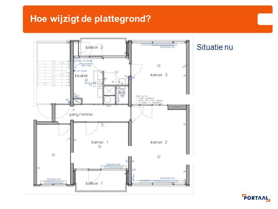 Hoe wijzigt de plattegrond? badkamer keuken wc Situatie nieuw