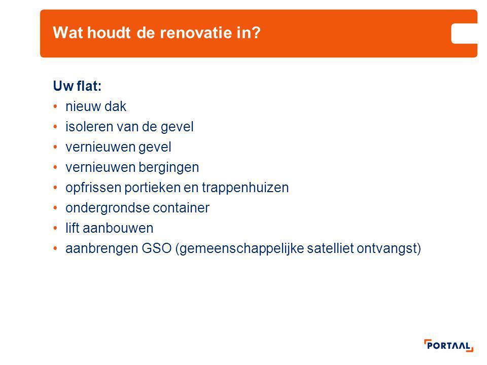 Wat houdt de renovatie in? Uw flat: •nieuw dak •isoleren van de gevel •vernieuwen gevel •vernieuwen bergingen •opfrissen portieken en trappenhuizen •o