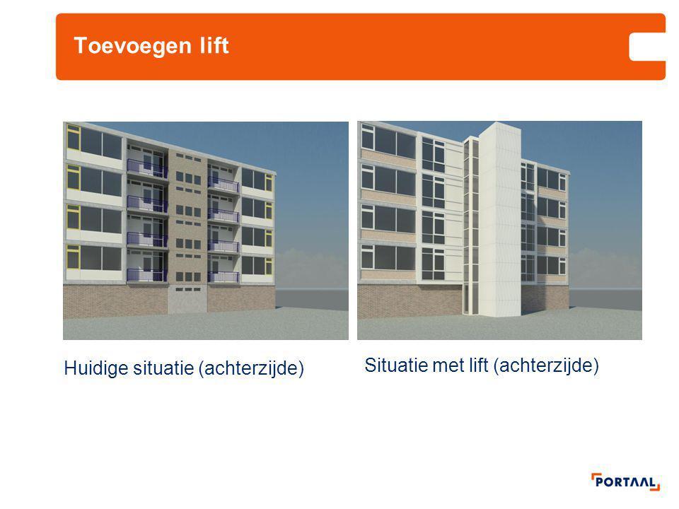 Toevoegen lift Huidige situatie (achterzijde) Situatie met lift (achterzijde)