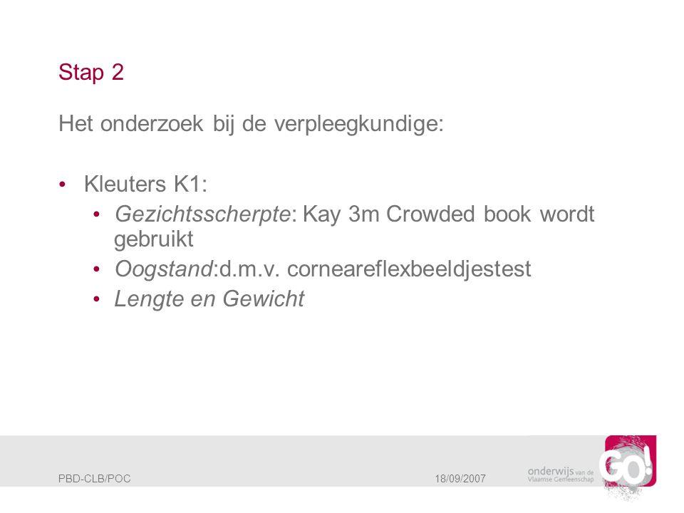 PBD-CLB/POC 18/09/2007 Stap 2 Het onderzoek bij de verpleegkundige: • Kleuters K1: • Gezichtsscherpte: Kay 3m Crowded book wordt gebruikt • Oogstand:d