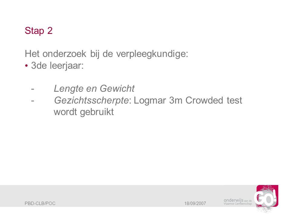 PBD-CLB/POC 18/09/2007 Stap 2 Het onderzoek bij de verpleegkundige: • 3de leerjaar: -Lengte en Gewicht -Gezichtsscherpte: Logmar 3m Crowded test wordt