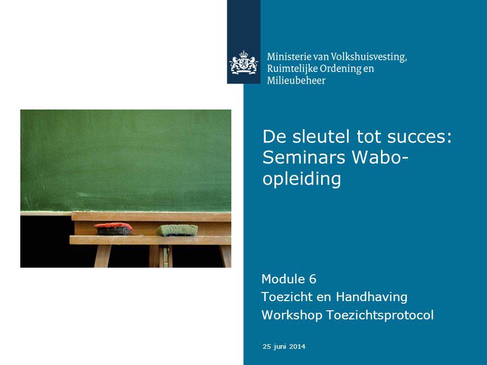25 juni 2014 De sleutel tot succes: Seminars Wabo- opleiding Module 6 Toezicht en Handhaving Workshop Toezichtsprotocol