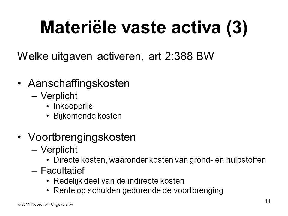 © 2011 Noordhoff Uitgevers bv 11 Materiële vaste activa (3) Welke uitgaven activeren, art 2:388 BW •Aanschaffingskosten –Verplicht •Inkoopprijs •Bijko
