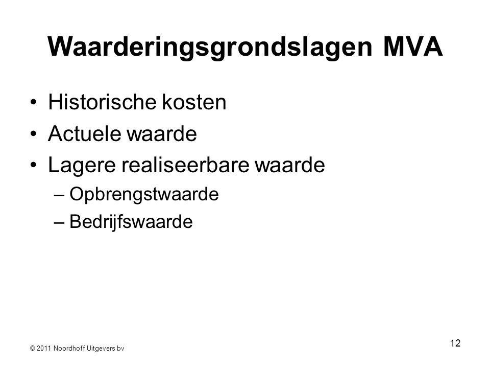 © 2011 Noordhoff Uitgevers bv 12 Waarderingsgrondslagen MVA •Historische kosten •Actuele waarde •Lagere realiseerbare waarde –Opbrengstwaarde –Bedrijf